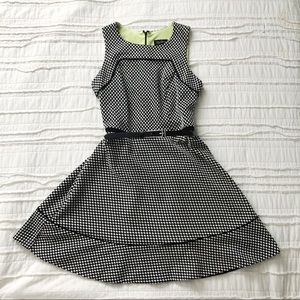 Vintage Oleg Cassini Houndstooth Fit & Flare dress